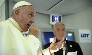 Pope Francis speaks to journalists on board the flight from Kraków, Poland, to Rome, at the end of his 5-day trip to southern Poland, Sunday, July 31, 2016. Francis announced that the next World Youth Day will take place in Panama in 2019. (Filippo Monteforte/Pool Photo via AP)