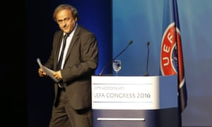 Former Uefa president Michel Platini leaves the podium after his speech at the football governing body's congress meeting on Wednesday.
