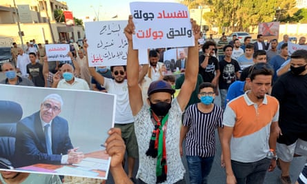 Libyan demonstrators shout slogans in support of the suspended interior minister, Fathi Bashagha, in Misrata.