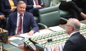 Prime minister Scott Morrison and Labor leader Anthony Albanese in parliament