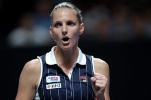 Karolina Pliskova celebrates taking the first set.