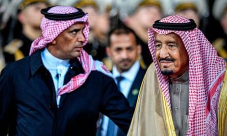 Maj Gen Abdulaziz al-Fagham (L) seen with King Salman in 2017