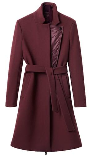 Burgundy wool belted coat