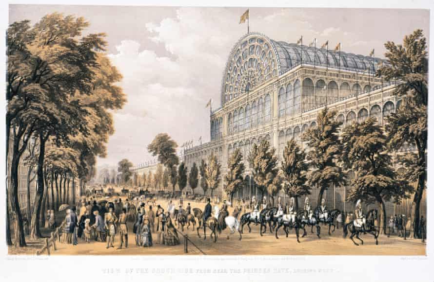سنگ نگاره ای از کاخ بلورین در سال اوج نمایشگاه بزرگ خود توسط T Picken پس از نقاشی اصلی فیلیپ برانان در سال 1851.