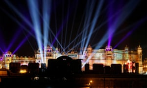 A view of the illuminated City Palace, one of the venues for the pre-wedding celebrations of Isha Ambani, daughter of the Chairman of Reliance Industri