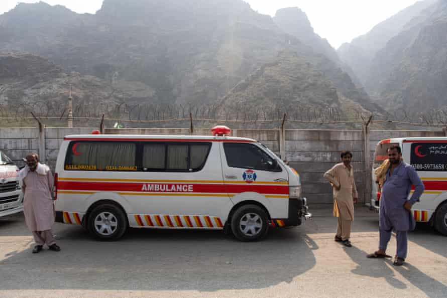 Ambulances on the Pakistan side wait for approval to hand over bodies of Afghan nationals.