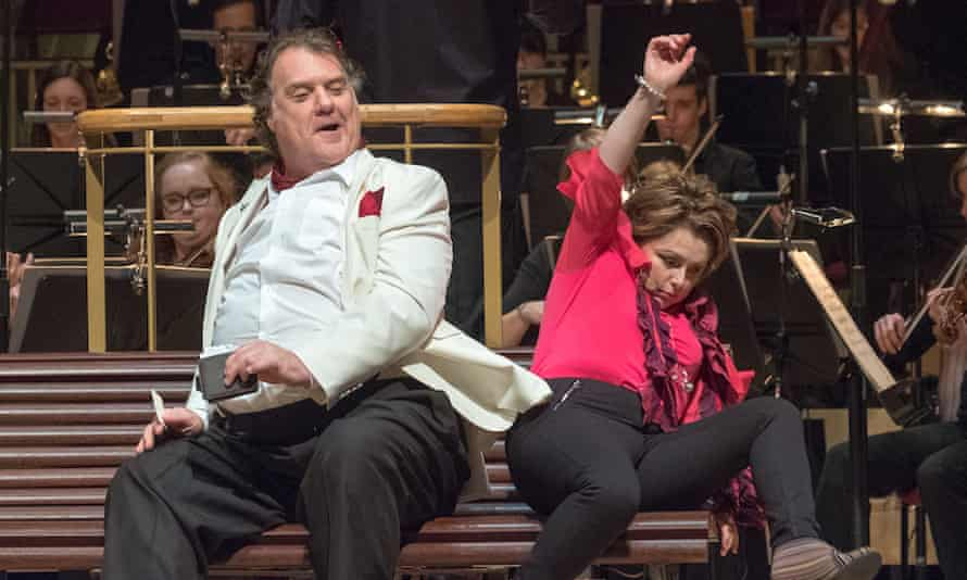 Bryn Terfel and Rebecca Evans (Alice Ford) in the RLPO's concert staging of Falstaff