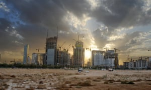 Construction of Riyadh's King Abdullah financial district. Saudi Arabia's King Salman has ordered a stop to any new projects and a freeze on all appointments.