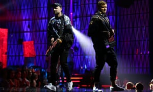 Dance duo Hermitude perform at the Arias.