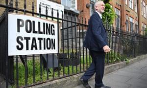 Jeremy Corbyn voting in European elections