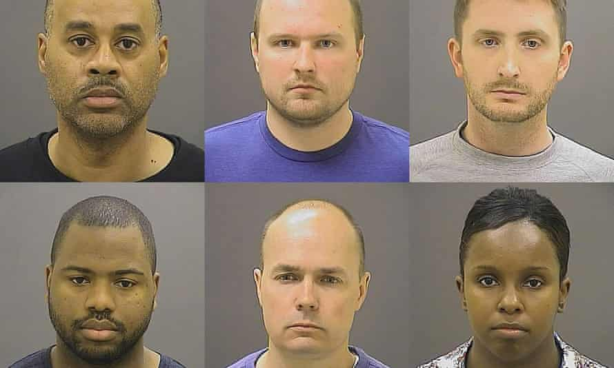 Six police officers charged in the death of Freddie Gray: top row from left, Caesar Goodson, Garrett Miller, Edward Nero; bottom from left, William Porter, Brian Rice, Alicia White.