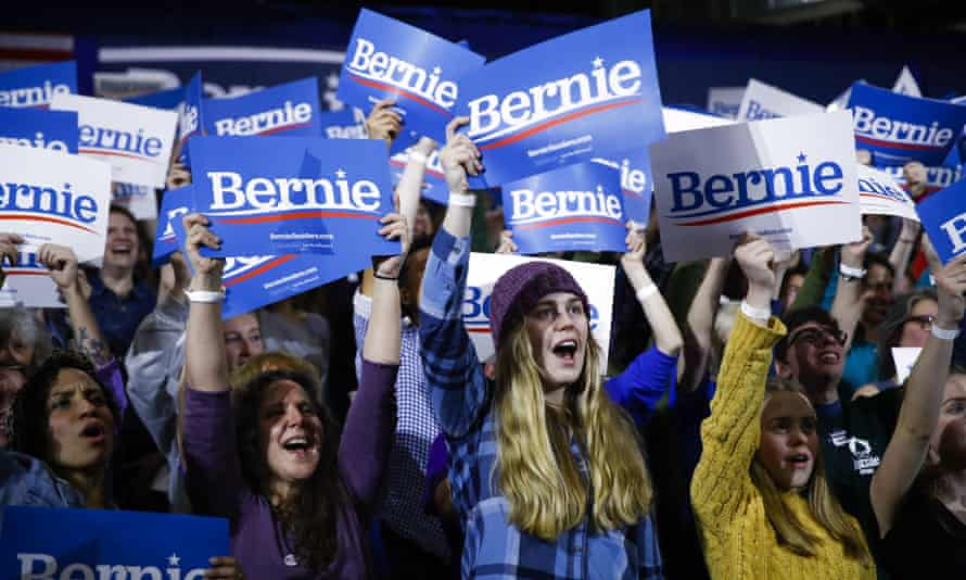 Supporters of Bernie Sanders cheer during a Super Tuesday election rally in Essex Junction, Vermont, on 3 March.