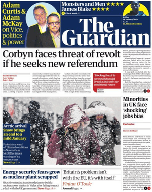 The Guardian front page 18 Jan