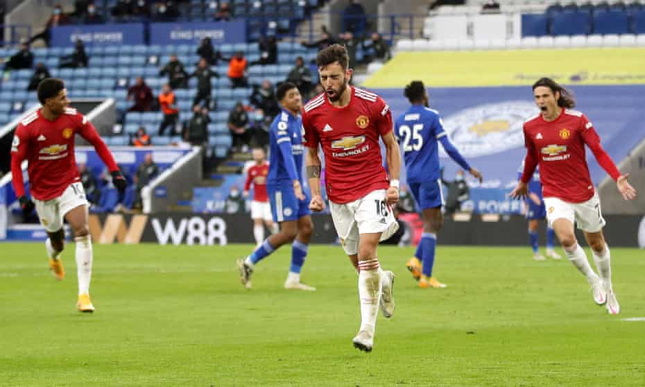 Bruno Fernandes (centre) celebrates after scoring for Manchester United at Leicester on Boxing Day.