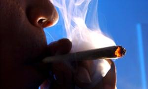 Someone smoking cannabis