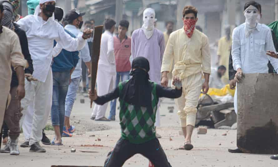 Protesters in Srinagar, India, this week.