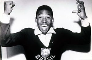 Pelé is jubilant after scoring twice in the 1958 World Cup final.