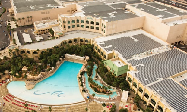 Solar panels on the roof of the Mandalay Bay convention center. Three of Nevada's largest casino companies have announced renewable energy plans.