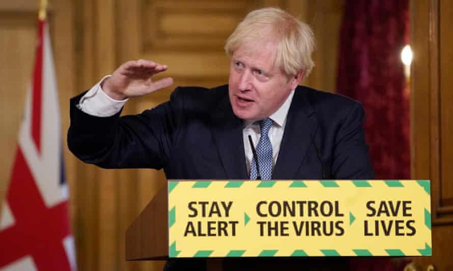 Britain's Prime Minister Boris Johnson at press conference.