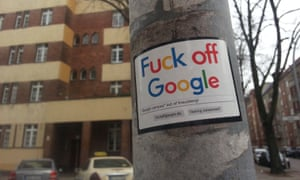 A sticker protesting against the new campus.