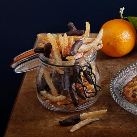 Orangettes … candied orange peel dipped in chocolate