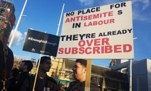 Jewish groups protest against Jeremy Corbyn at the Houses of Parliament after he was accused of antisemitism.