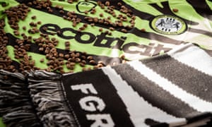 """Forest Green Rovers prototype kit made from coffee waste<br>Handout photo provided by Forest Green Rovers. League Two Forest Green are continuing their """"adventure in alternative materials"""" as they prepare to line up in a kit made out of coffee grounds. Issue date: Wednesday February 24, 2021. PA Photo. See PA story SOCCER Forest Green. Photo credit should read: Forest Green Rovers/Handout/PA Wire. NOTE TO EDITORS: This handout photo may only be used in for editorial reporting purposes for the contemporaneous illustration of events, things or the people in the image or facts mentioned in the caption. Reuse of the picture may require further permission from the copyright holder."""
