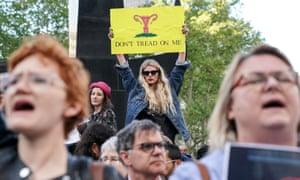 Abortion rights campaigners attend a rally in New York City on 21 May 2019.