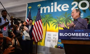 Bloomberg made a stop at one of his campaign offices in the Little Havana neighborhood in Miami, Florida.