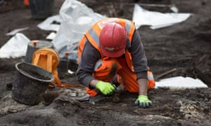 An archaeologist at work on the Bedlam burial ground in London