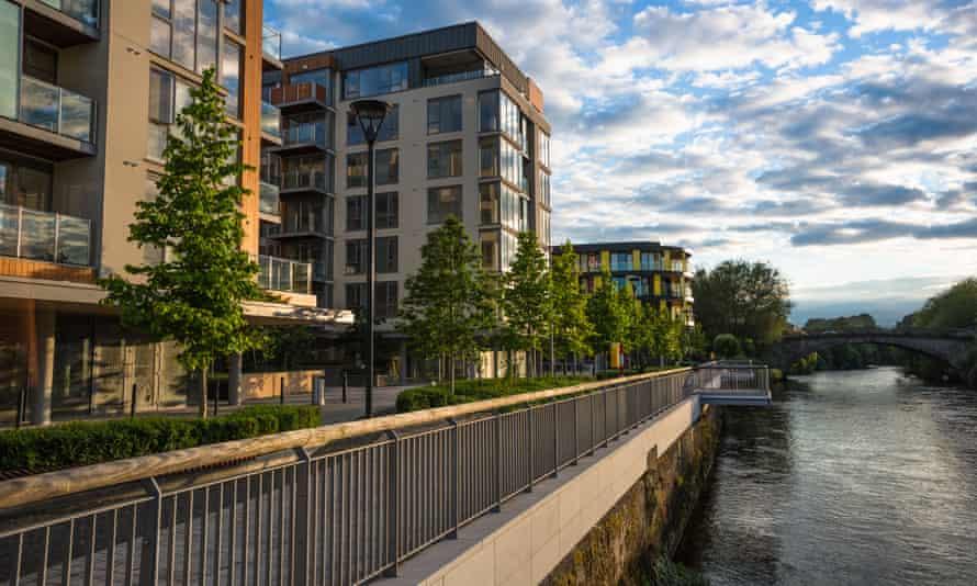 New apartments on the River Liffey near Phoenix park, Dublin.