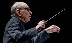 Beguiling intimacy … Ennio Morricone at the O2 Arena, London.