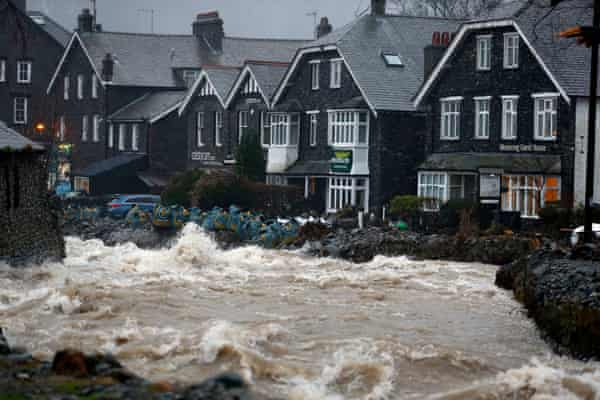 Flooding in Glenridding, Ullswater, Cumbria, caused by Storm Frank