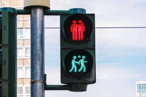Frankfurt am Main, Germany Traffic lights feature illustrations of same-sex couples before the annual Pride parade on 20 July