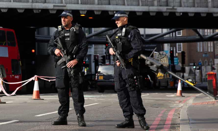 Armed police near Borough Market in London.