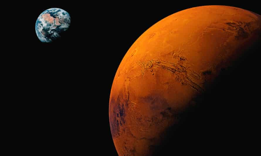 Planet Mars, with Earth visible in background
