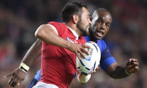 Phil Mack attacks against France at the 2015 Rugby World Cup in England.