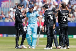 New Zealand celebrate as Bairstow is dismissed after dragging a Henry ball onto his stumps.