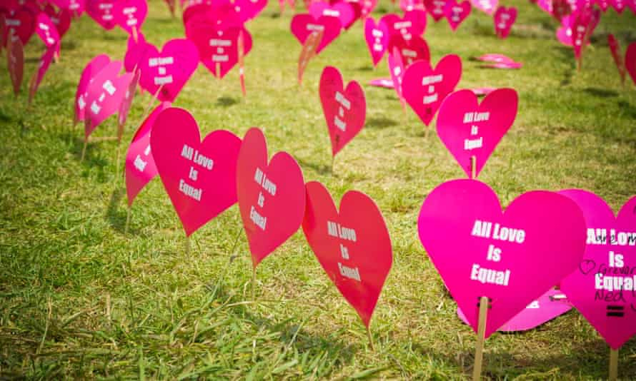 Heart shaped signs campaigning for marriage equality.