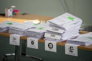 Ballot papers are counted at the Pembrokeshire Archives building in Prendergast on May 26, 2019 in Haverfordwest, Wales.