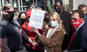 The former Florida attorney general Pam Bondi speaks to the media about a court order giving Donald Trump's campaign access to observe vote counting in Philadelphia.
