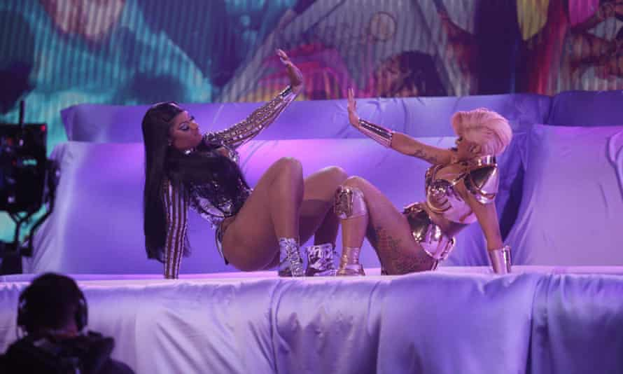 Megan Thee Stallion and Cardi B perform their song WAP at the Grammy awards in March.