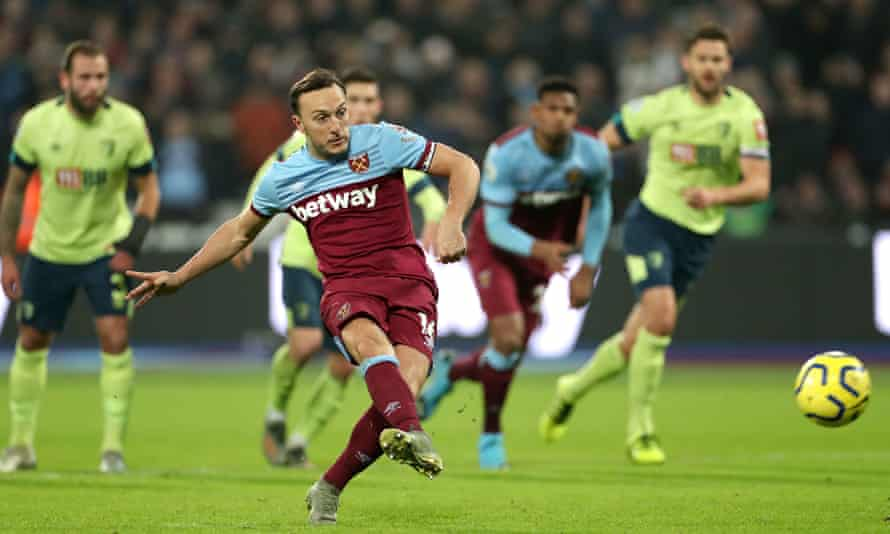 West Ham's Mark Noble is on target from the penalty spot to score his second and West Ham's third goal against Bournemouth.