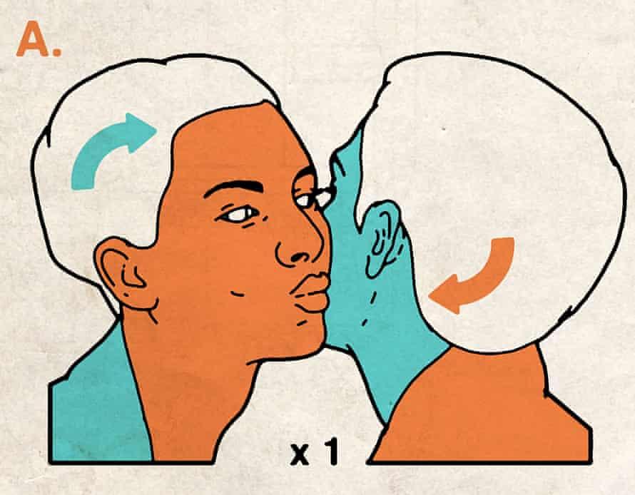 Illustration of kissing cheeks