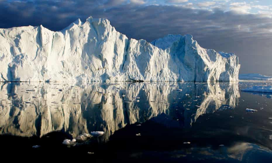 Icebergs near Ilulissat, in Greenland where the ice cap is melting.