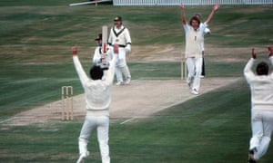 Bob Willis (second right) was on the rampage at Headingley in 1981 and here celebrates taking John Dyson's wicket.