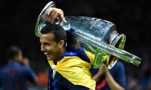Pedro celebrates with the European Cup after Barcelona's victory over Juventus in Berlin in June 6.