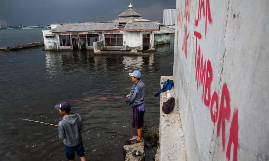 An abandoned mosque outside the seawall in Jakarta. The city is sinking due to massive groundwater extraction: 4 million people are 4 metres below sea level. Photograph by Kemal Jufri for the Guardian