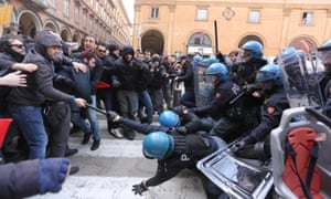 Protesters against Forza Nuova clash with police in Bologna, Italy, 16 February.