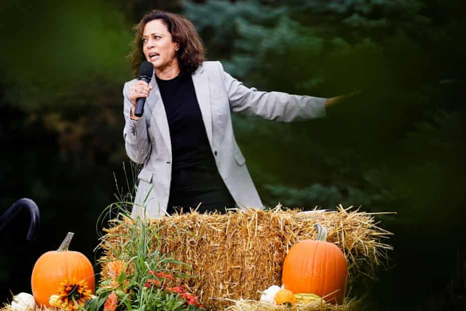 Kamala Harris speaks at the Polk county Democrats' Steak Fry in Des Moines, Iowa, on 21 September.